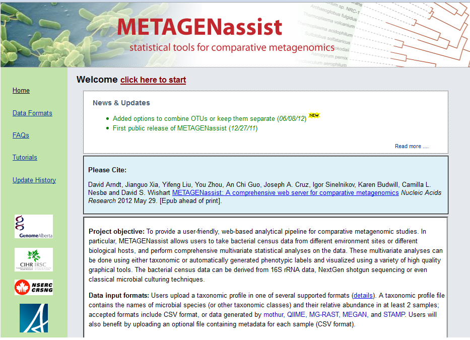 METAGENassist home           page