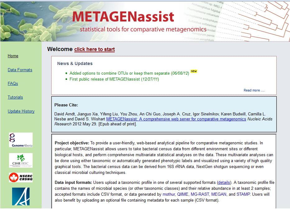 METAGENassist home           page
