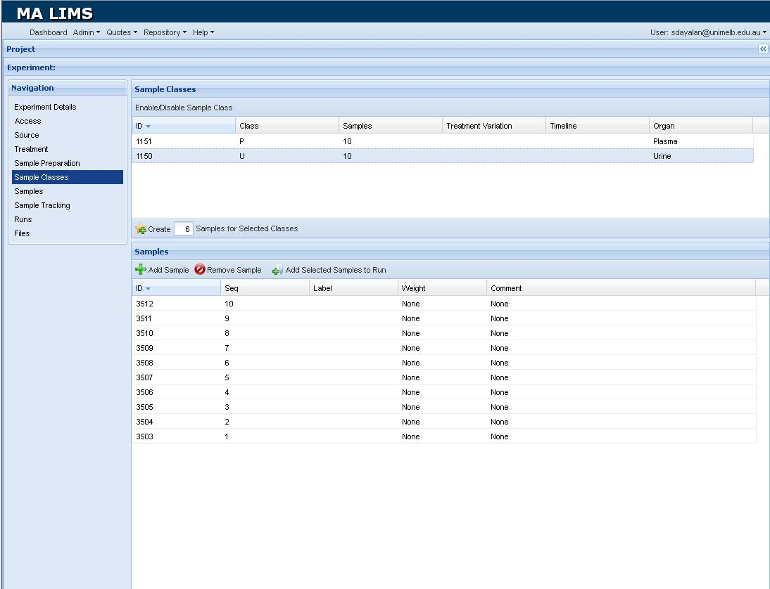 Screenshot of the LIMS           window