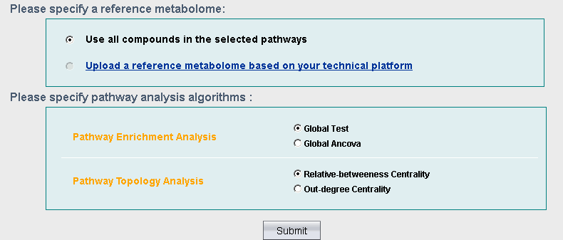 Parameter selection for pathway analysis