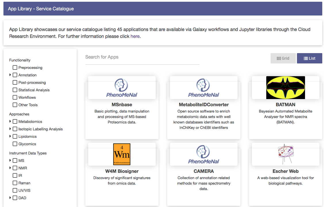 Screenshot                                                            of PhenoMeNal                                                           App Library