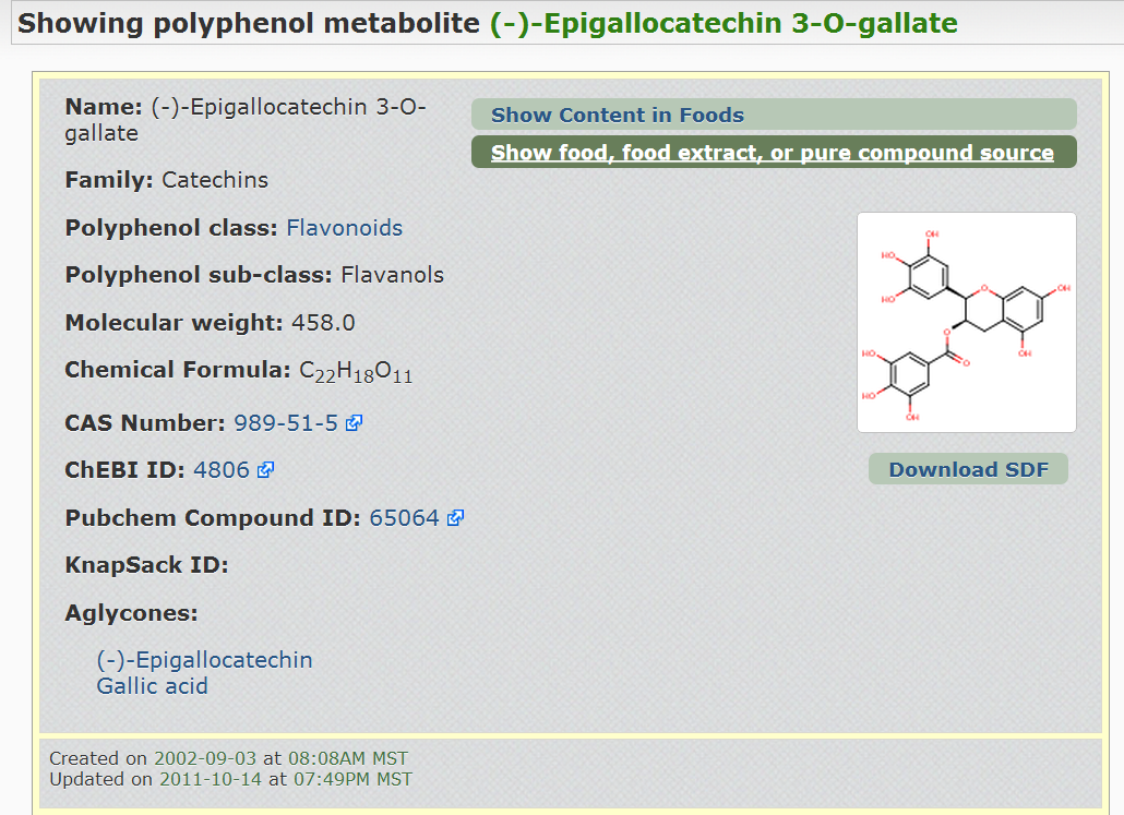 Screenshot of the Phenol-Explorer database showing the         structure of a metabolite formed upon tea ingestion